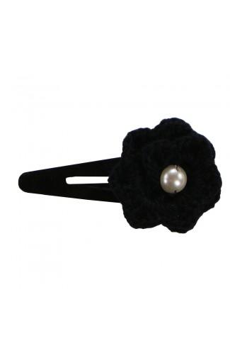 Clama de par, dama, Buticcochet crosetata manual, Floare Negru, cu Perla Alba