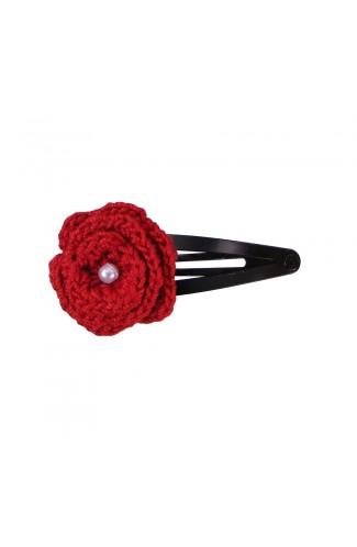Clama de par, fetite, Buticcochet, crosetata manual, Floare Rosu, cu Biluta Alba, CMRSAL01