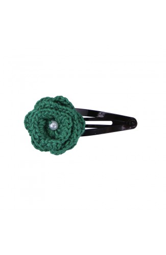 Clama de par, fetite, Buticcochet, crosetata manual, Floare Verde, cu Biluta Alba