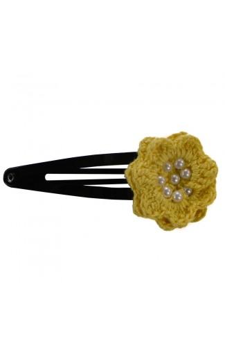 Clama de par, dama, Buticcochet, crosetata manual, Floare Galben, cu Bilute Albe