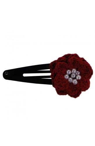 Clama de par, dama, Buticcochet, crosetata manual, Floare Rosu, cu bilute Albe