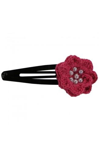 Clama de par, dama, Buticcochet, crosetata manual, Floare Roz Bonbon, cu Bilute Albe