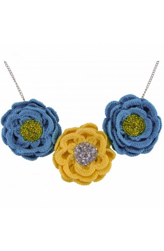 Colier cu Flori, dama, Buticcochet, crosetat manual, Galben cu Albastru, COSP09