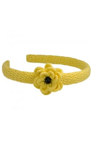 Cordeluta de par, dama, Buticcochet, crosetata manual,  cu floare, Galben