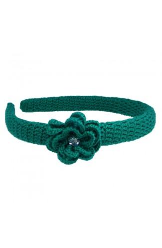 Cordeluta de par, dama, Buticcochet, crosetata manual,  cu floare, Verde, CRVRAL05