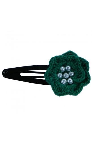 Clama de par, dama, Buticcochet, crosetata manual, Floare Verde, cu Bilute Albe