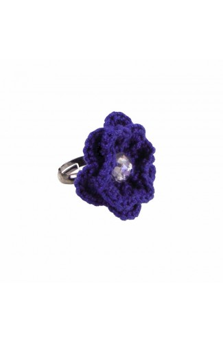 Inel Floare, dama, Buticcochet, crosetat manual, Albastru, cu Stras Multicolor