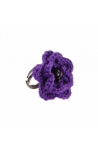 Inel Floare, dama, Buticcochet, crosetat manual, Mov, cu Perla neagra, INMVNG22