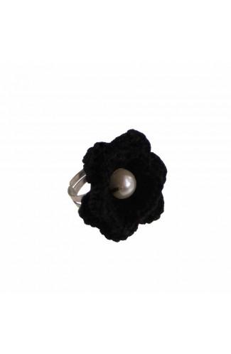 Inel Floare, dama, Buticcochet, crosetat manual, Negru, cu Perla Alba, INNGAL03