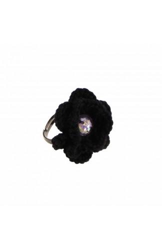 Inel Floare, dama, Buticcochet, crosetat manual, Negru, cu Stras Multicolor
