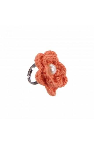 Inel Floare, dama, Buticcochet, crosetat manual, Portocaliu, cu Perla alba, INPTAB18