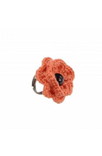 Inel Floare, dama, Buticcochet, crosetat manual, Portocaliu, cu Perla neagra, INPTNG19