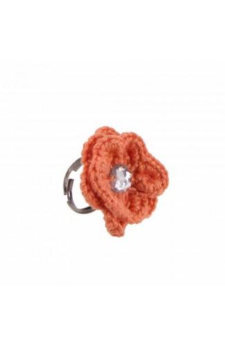 Inel Floare, dama, Buticcochet, crosetat manual, Portocaliu, cu Stras alb, INPTST20