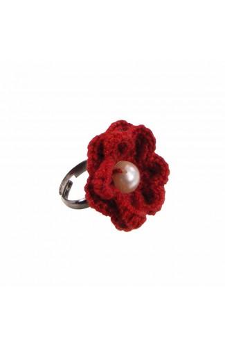 Inel Floare, dama, Buticcochet, crosetat manual, Rosu, cu Perla Alba