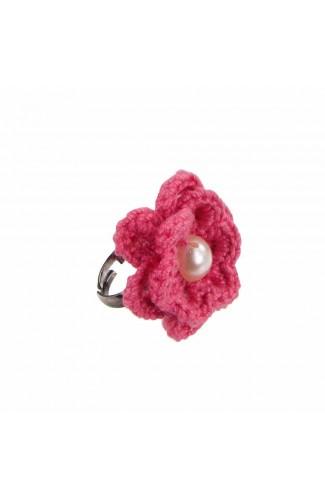Inel Floare, dama, Buticcochet, crosetat manual, Roz bonbon, cu Perla Alba, INPKAL24
