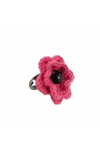 Inel Floare, dama, Buticcochet, crosetat manual, Roz bonbon, cu Perla Neagra, INPKNG25