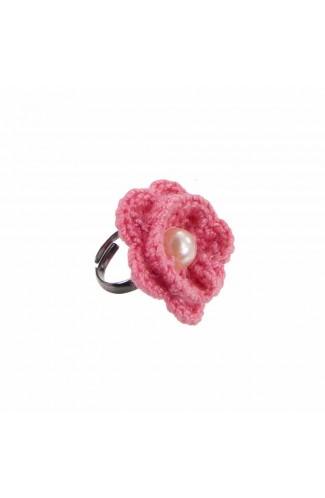 Inel Floare, dama, Buticcochet, crosetat manual, Roz, cu Perla Alba, INPKAL05