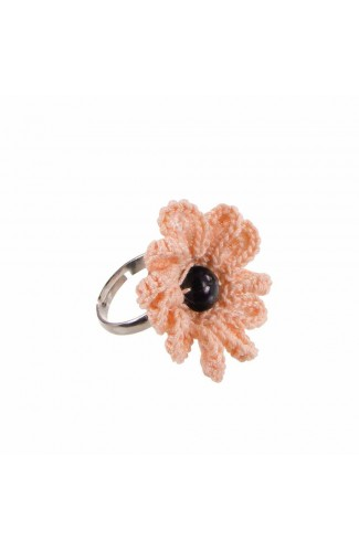 Inel Floare, dama, Buticcochet, crosetat manual, Roz piersica, cu Perla neagra