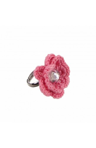 Inel Floare, dama, Buticcochet, crosetat manual, Roz, cu Stras Alb