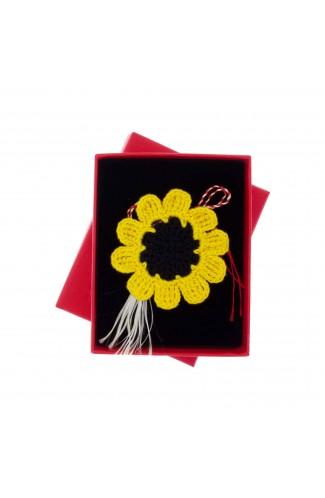 Martisor Brosa, Crosetat Manual, Buticcochet, Floarea Soarelui, MRCT39