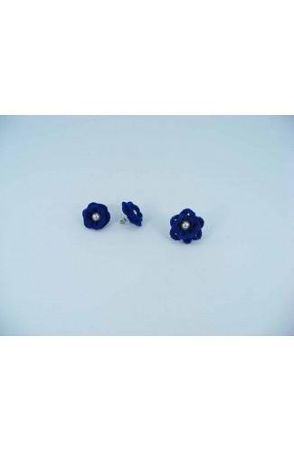 Set cadou cercei si inel floare albastra cu perla alba crosetati manual Buticcochet, SET01