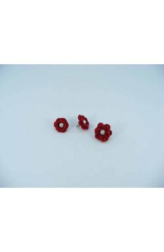 Set cadou cercei si inel floare rosie cu perla alba crosetati manual Buticcochet, SET03