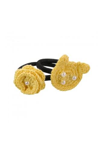 Set elastice de par negre , fetite, Buticcochet, crosetate manual, cu Urs si Floare Galbena, STELGB05