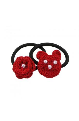 Set elastice de par negre, fetite, Buticcochet, crosetate manual, cu Urs si Floare Rosii