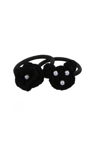 Set elastice de par, fetite, Buticcochet, crosetate manual, cu Urs si Floare Negre, STELBK11