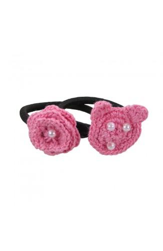 Set elastice de par negre , fetite, Buticcochet, crosetate manual, cu Urs si Floare Roz