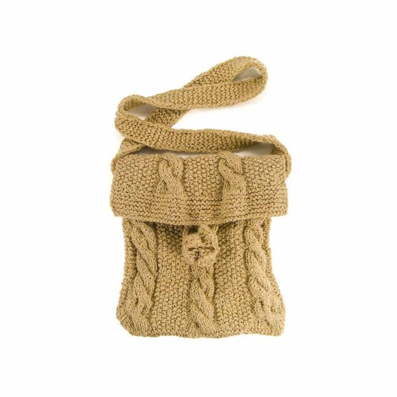 Geanta bej de dama tricotata manual Buticcochet