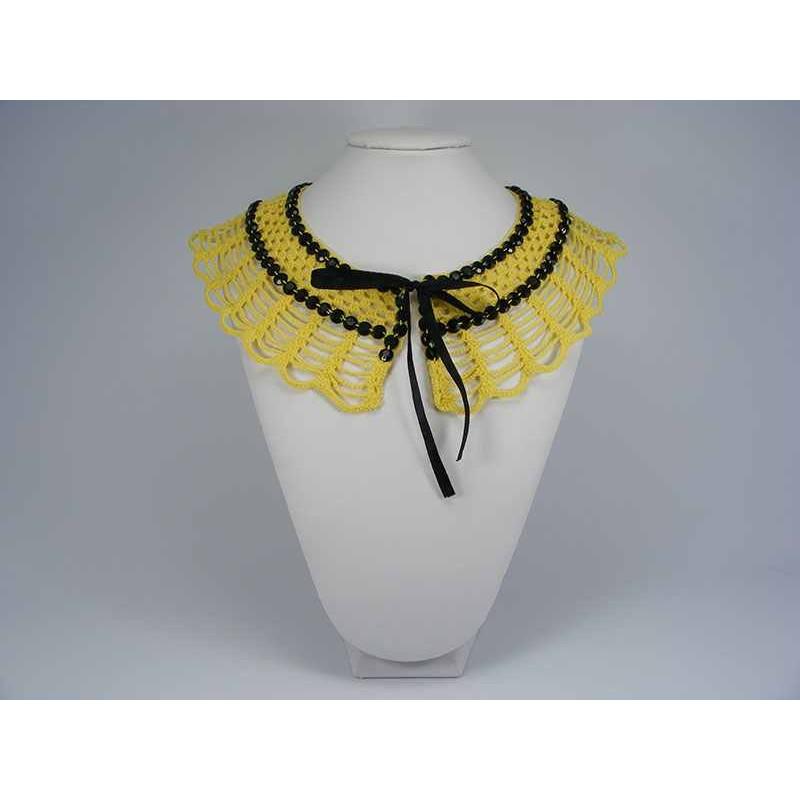 Guler crosetat manual de dama galben cu pietre negre Buticcochet
