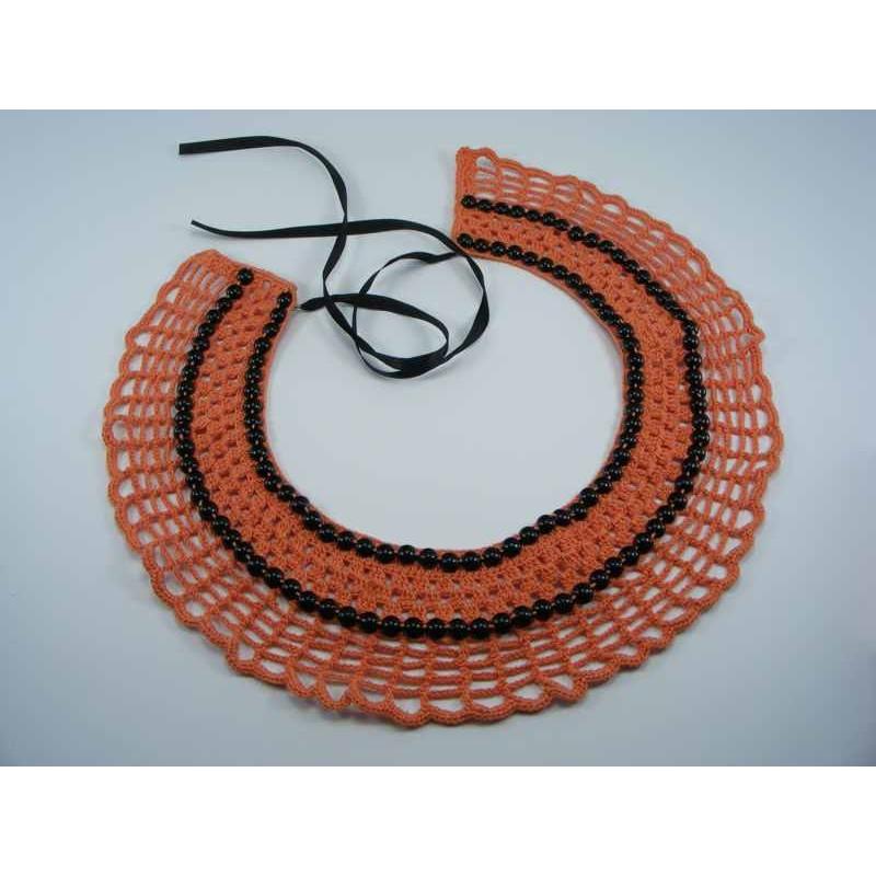 Guler crosetat manual de dama portocaliu cu perle negre Buticcochet