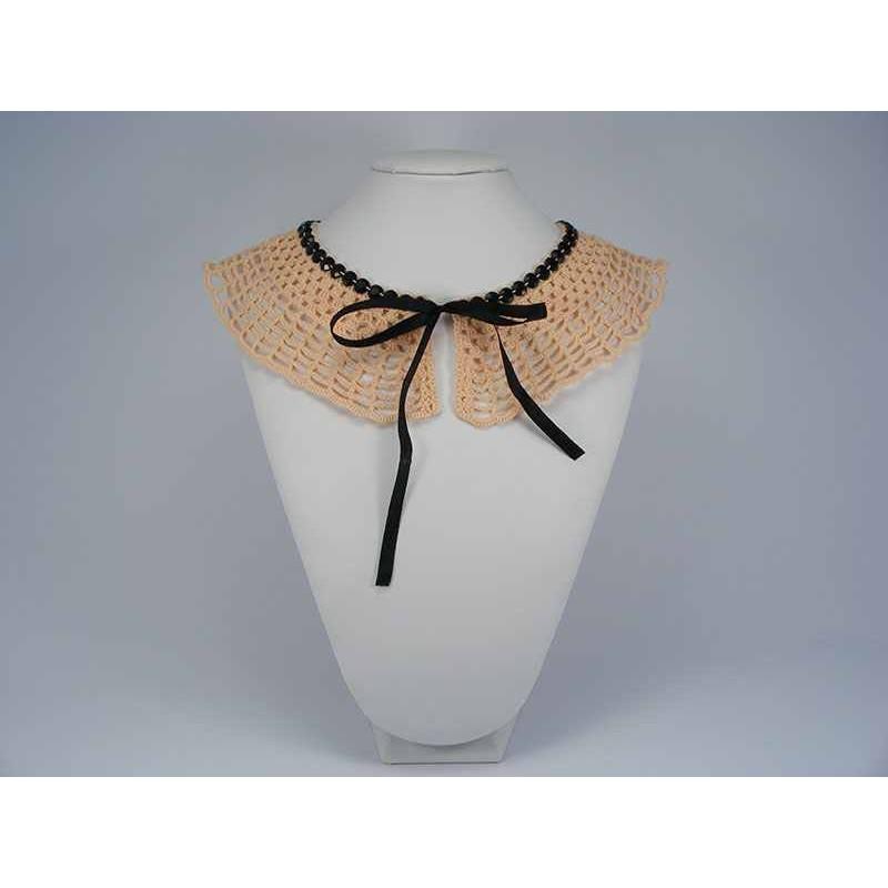 Guler crosetat manual de dama roz cu pietre negre Buticcochet