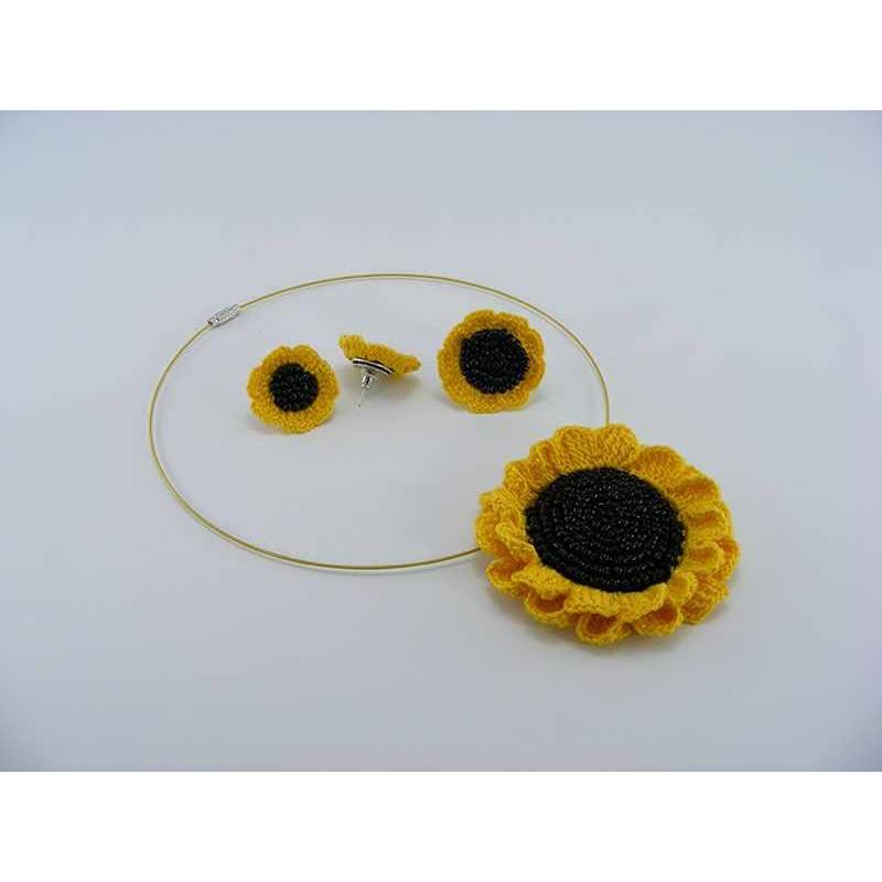 Set Cadou Floarea Soarelui de dama crosetat manual Buticcochet